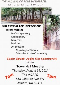 Community flier urging turnout for meeting on Fort McPherson