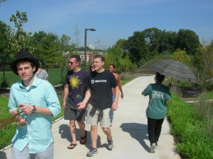 Some of the first people walking along the Gateway