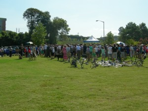 A crowd gathers on the southern end of Historic Fourth Ward Park for Gateway opening