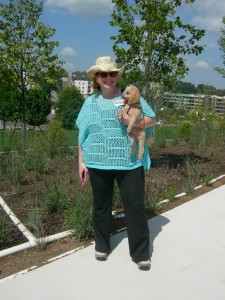 Anna Foote with her dog experiencing the new connector