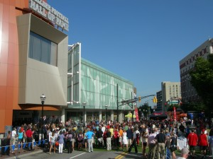 Crowds gather in front of College Football HOF