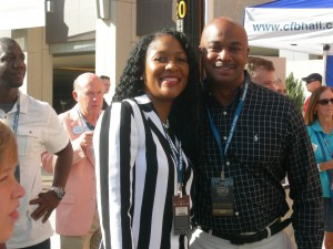 Atlanta City Councilman Kwanza Hall with his wife, Natalie Hall. Dan Cathy in background