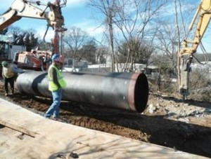 Atlanta saved $50 million in construction costs at the Peachtree Creek capacity relief project, which included installation of this 48-inch pipe at Cheshire Bridge Road. Credit: City of Atlanta