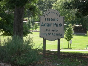 Sign in front of Adair Park