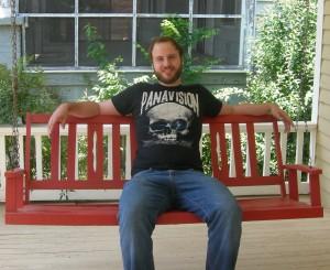David on his porch swing