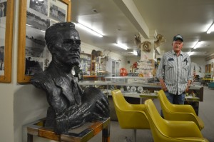 Museum guide Gary Spaulding and bust of Farnsworth.