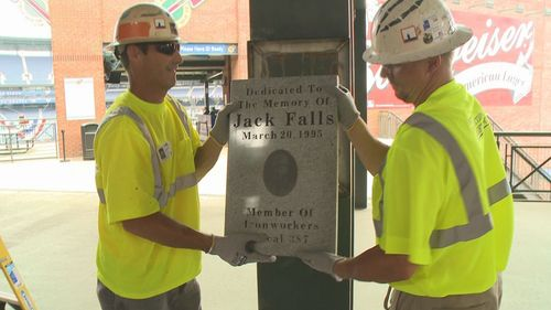 Ironworkers Local 387 helped remove the plaque for Jack Falls from Turner Field, at the top of Aisle 243. (Photo courtesy of Jackie Falls).