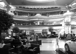 Moving ads could be displayed above the atrium of Atlanta's airport under a proposed advertising contract. Credit: City of Atlanta