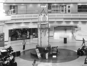 Every time a traveler checks the clock in the atrium of Atlanta's airport terminal, an advertiser could transmit a message. Credit: City of Atlanta