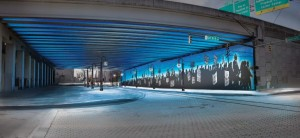 This neon blue concept is one of three original proposals for improving the Auburn Avenue underpass at the Downtown Connector. A final version was crafted following public comment. Credit: atlantadowntown.com