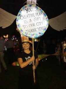 Cnantelle Rytter holds her own lantern thanking Atlantans for their creations