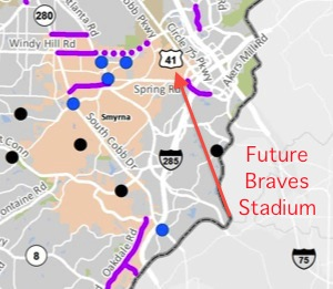 The colored lines and dots on this map represent road projects to be funded if Cobb County voters agree to extend a 1 percent sales tax. The future SunTrust Park stadium for the Braves is marked by the red arrow. Credit: Cobb County, David Pendered