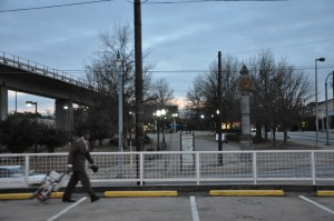 The West End MARTA station, across Ralph David Abernathy Boulevard from this parking lot, serves bus and rail passengers from the station beyond this park. Credit: Donita Pendered