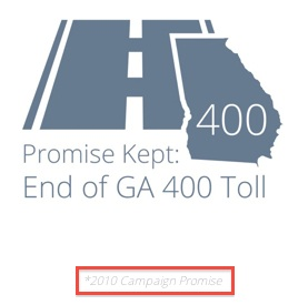 Gov. Deal's campaign website includes this reference to the end of tolls on Ga. 400. (Red box added for emphasis). Credit: dealforgovernor.com, David Pendered