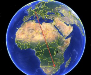 Satellite telemetry tracked a falcon on its annual migration from Germany to Zimbabwe. Credit: Google Earth, David Pendered