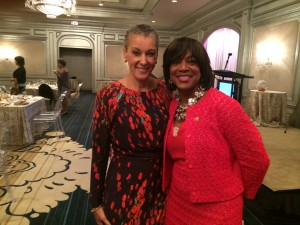 Sharon Malone hugs her longtime friend - Valerie Montgomery Rice
