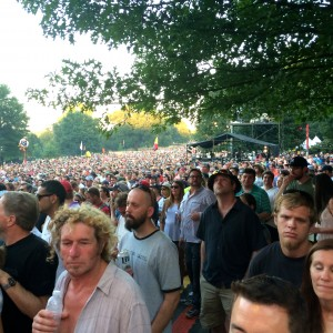 Greg Allman and his band attracts a large crowd up on Oak Hill