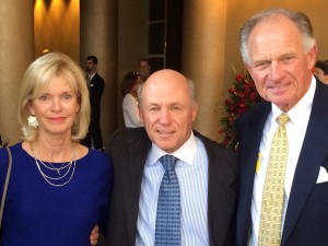 Dan Cathy sent this photo taken of him at his father's memorial service standing between Nancy Gordy Sims of the Varsity and Joe Rogers of Waffle House