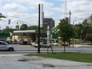 With the state Capitol in the background, Memorial Drive continues to hum as a commercial and residential corridor connecting Atlanta with Decatur and Stone Mountain. Further east, the road is named Cynthia McKinney Parkway, to honor the former congresswoman. Credit: David Pendered