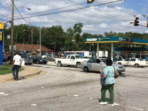 State records unearthed by Georgia Tech students show 129 car crashes occurred at this intersection of Memorial Drive and Moreland Avenue as pedestrians, cars and MARTA buses share the busy place. Credit: David Pendered