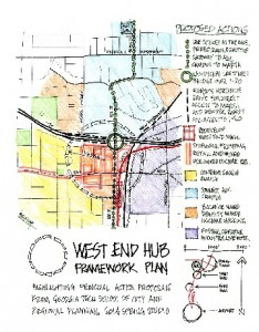 Georgia Tech students have proposed a framework for redeveloping the West End commercial district and its environs. Credit: Georgia Tech