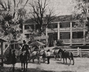 The White Hall Tavern served as a travelers rest and was described as unusual because it was painted, at a time most structures were unpainted. This view was painted by Wilburn Kurtz. Credit: Atlanta History Center via tomitronics.com.