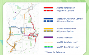A map showing different alignment options for future streetcar lines