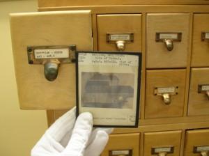 "Glass slide, ""Gate of Ishtar."" Credit: Johnson Library, Southern Polytechnic State University"