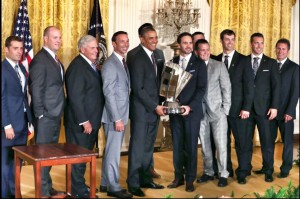 Andrew Childers, second from left, with the Hendrick Motorsports team led by driver Jimmie Johnson. The team visited the White House earlier this year after winning the 2013 Sprint Cup championship, NASCAR's equivalent of the Super Bowl.