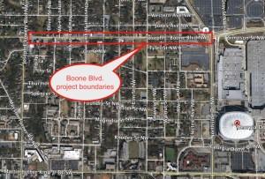 Boone Boulevard project boundaries