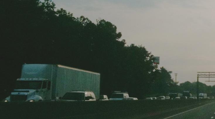 Trucks, westbound on I-20