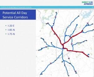 GRTA's draft strategic plan calls for all-day service in major corridors. Credit: GRTA