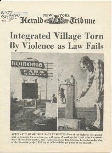 """A story about Koinonia Farm entitled """"Integrated Village Torn by Violence as Law Fails,"""" in the New York Herald Tribune, April 5, 1957."""
