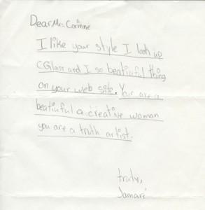 A fan letter from a schoolchild in Arkansas whose teacher wore a C Glass belt buckle.