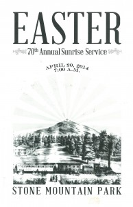 Bulletin from 2014 Easter sunrise service at Stone Mountain Park