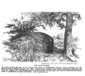 """Sketch of """"Pulpit Rock,"""" from which Bishop Atticus Haygood often delivered sermons."""