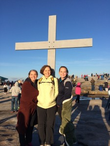 Ang, Barbara and Allie Myers of Snellville after the Easter sunrise service atop Stone Mountain.