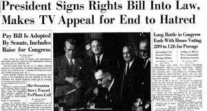 President Lyndon Johnson asks Americans for racial healing, following signing of Voting Rights Act in 1965. Credit: Washington Post