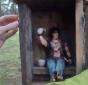 """Villoria found this cache in West Virginia. Some """"finds"""" require digging, climbing or solving puzzles."""