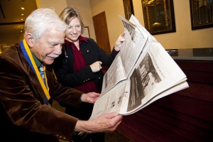 Thomas Altizer with Emory Magazine editor Paige Parvin at Emory's 175th anniversary celebration in 2011.