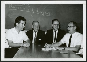 (L to R) Emory religion department professors Thomas Altizer, E. H. Reece, Martin Buss, and Jack Boozer