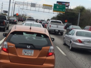 Bumper to bumper traffic is common on I-85 in the evening rush hour, just north of Midtown. Credit: David Pendered