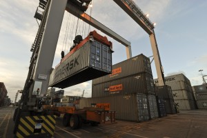 Containers loaded with consumer goods are stored at the Savannah wharves until they are loaded onto tractor-trailers or railroad cars. Credit: GPA