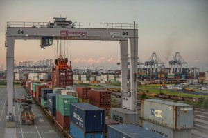Containers are transferred to rail cars at the Savannah port's Chatham Rail Intermodal Facility. Credit: GPA