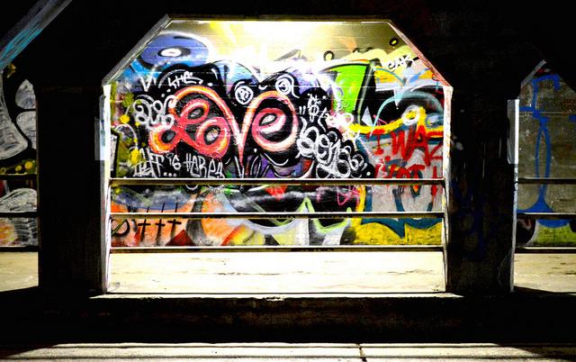 Love grafitti in the Krog Street Tunnel by Lisa Panero