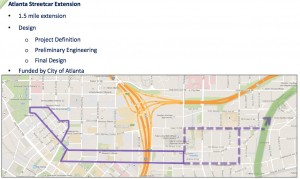 The proposed budget of Atlanta BeltLine, Inc. provides money to design and eastward extension of the Atlanta Streetcar so it connects with the BeltLine's Eastside Trail. Credit: Atlanta BeltLine via investatlanta.com