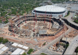 Concrete is being poured on the west side of the Falcons stadium. Credit: newstadium.atlantafalcons.com