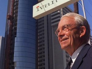 Former Atlanta Mayor Mayor Ivan Allen Jr. poses under a sign designating Ivan Allen Jr. Boulevard. Credit Associated Press