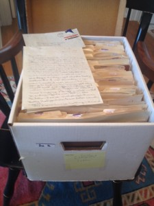 The box of original love letters between Jo and Gene Taylor.