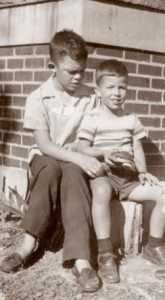 Josh Taylor (right) with his brother Ben, who were raised by parents separated by World War II.